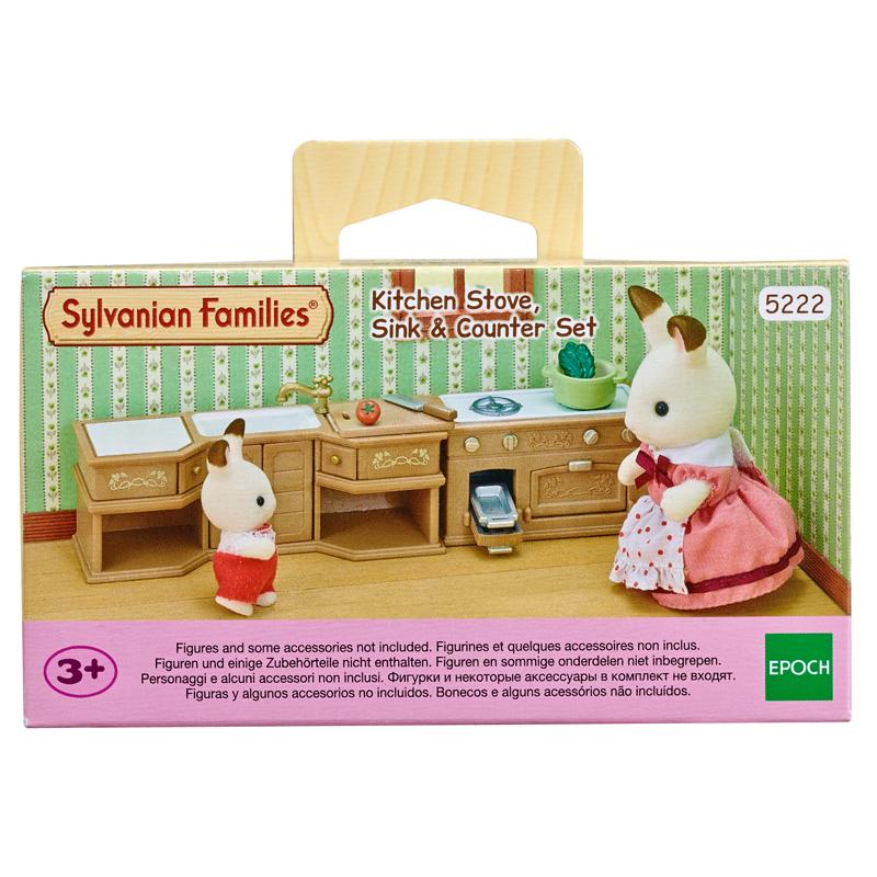 Sylvanian families kitchen stove sink counter set ebay for Kitchen stove set
