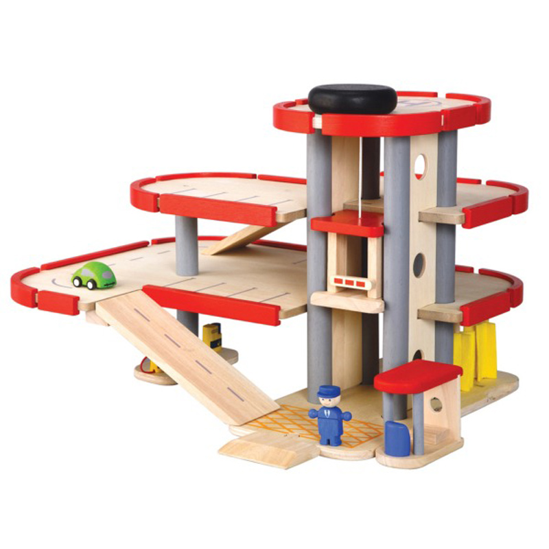 The Parking Garage is a wooden playset with many different features ...