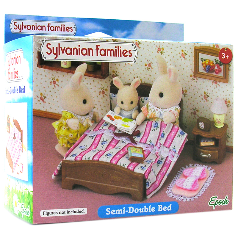 sylvanian families semi double bed doll house miniatures. Black Bedroom Furniture Sets. Home Design Ideas